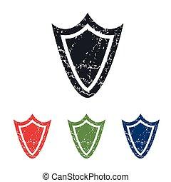 Shield grunge icon set