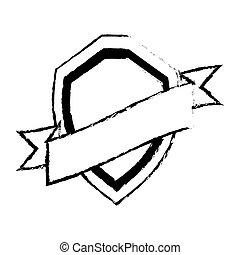 shield guarantee premium label sketch