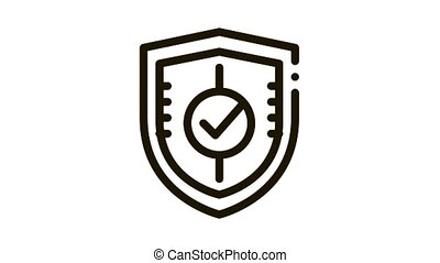 Shield Guard Protection Approved Mark animated black icon on white background