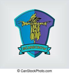 shield., halloween, spaventapasseri, vector.