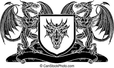 Shield Heraldic Crest Coat of Arms Dragon Emblem