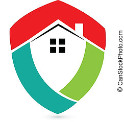 Shield house -Real Estate icon vector