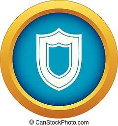 Shield icon blue vector isolated