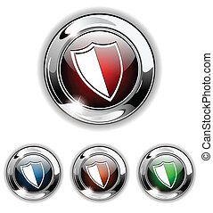 Shield icon, button, vector illustr