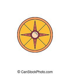 Shield icon, cartoon style