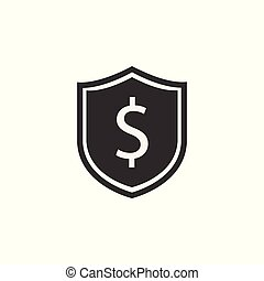 Shield icon. Dollar sign. Vector illustration. Protectoin...