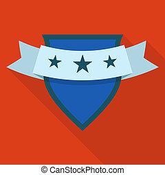 Shield icon, flat style