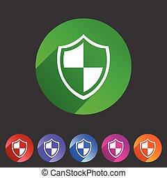 Shield icon flat web sign symbol logo label set