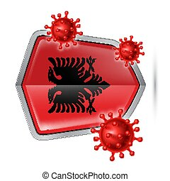 Shield Icon of Albania - Flag of Albania on Metal Shiny ...