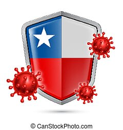 Shield Icon of Chile - Flag of Chile on Metal Shiny Shield ...