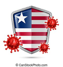 Shield Icon of Liberia - Flag of Liberia on Metal Shiny ...
