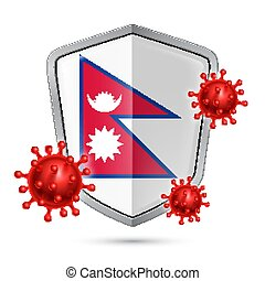Shield Icon of Nepal - Flag of Nepal on Metal Shiny Shield ...