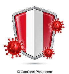 Shield Icon of Peru - Flag of Peru on Metal Shiny Shield ...