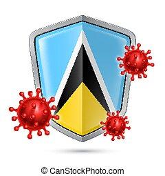 Shield Icon of Saint Lucia - Flag of Saint Lucia on Metal ...