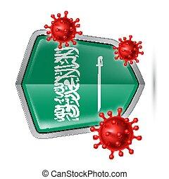 Shield Icon of Saudi Arabia - Flag of Saudi Arabia on Metal ...