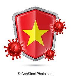 Shield Icon of Vietnam - Flag of Vietnam on Metal Shiny ...