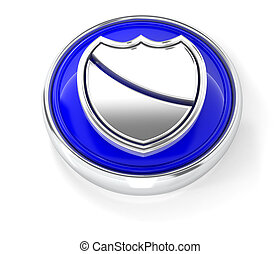 Shield icon on glossy blue round button