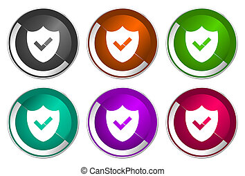 Shield icon set, silver metallic web buttons