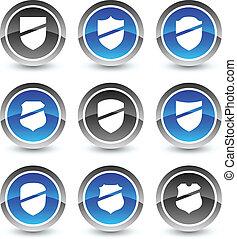 Shield icon set.