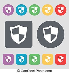 shield icon sign. A set of 12 colored buttons. Flat design. Vector
