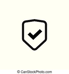 Shield icon vector isolated, flat line outline safety symbol with checkmark, warranty or protect sign, privacy or secure pictogram, protection mark clipart
