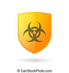 Shield icon with a biohazard sign