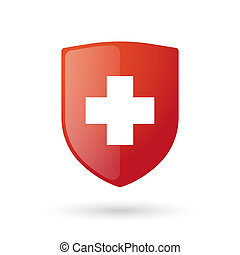Shield icon with a swiss flag - Illustration of an isolated...