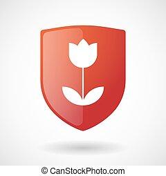 Shield icon with a tulip