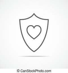 Shield icon with heart. Vector illustration.