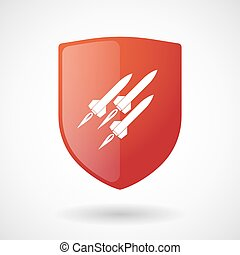 Shield icon with missiles