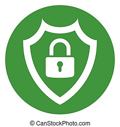 shield icon with padlock inside - Illustration of shield...