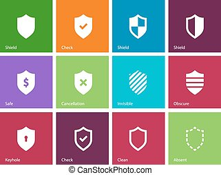 Shield icons on color background.
