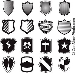 Shield icons set in simple style