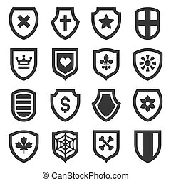 Shield Icons Set on White Background. Vector