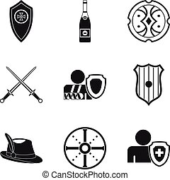 Shield icons set, simple style - Shield icons set. Simple...