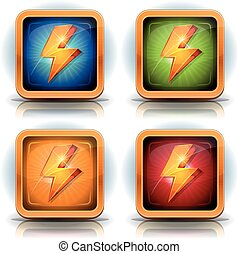 Shield Icons With Lightning Bolts For Game Ui