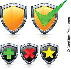 Shield icons with signs