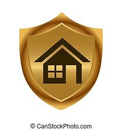 shield., illustration., 金, 家, ベクトル, icon., 株