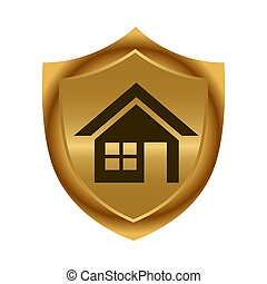 shield., illustration., or, maison, vecteur, icon., stockage