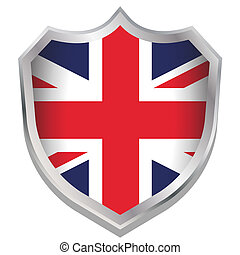 Shield Illustration with the flag for the country of United Kingdom