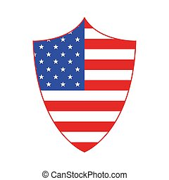 Shield in American flag style. Vector illustration