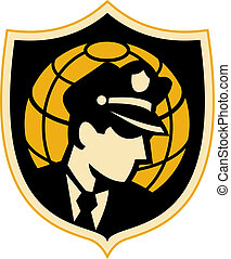 shield., jogo, delegacia polícia, globo, ou, guarda, fundo,...
