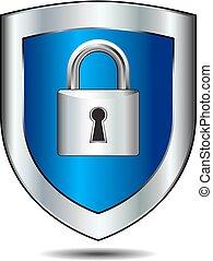 Shield Lock - Lock on shield - concept internet protection