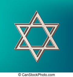 Shield Magen David Star. Symbol of Israel. Vector. Icon printed at 3d on sea color background.