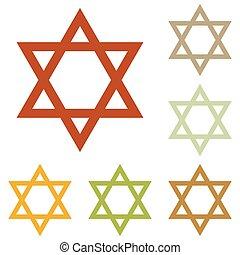 Shield Magen David Star. Symbol of Israel. Colorful autumn...