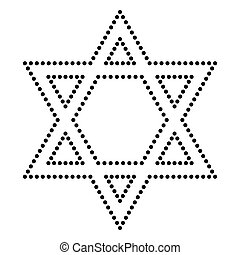 Shield Magen David Star. Symbol of Israel. Dot style or...
