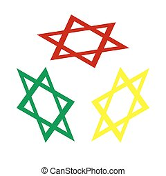 Shield Magen David Star. Symbol of Israel. Isometric style of red, green and yellow icon.