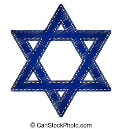 Shield Magen David Star. Symbol of Israel. Jeans style icon...