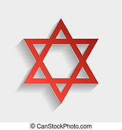 Shield Magen David Star. Symbol of Israel. Red paper style...