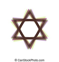 Shield Magen David Star. Symbol of Israel. Vector. Colorful...